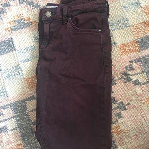 Topshop Leigh Burgundy Skinny Jeans